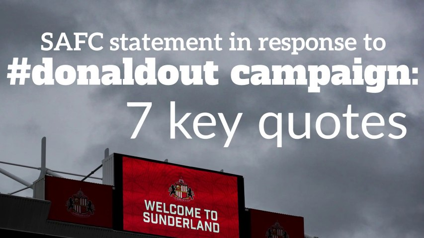 7 key quotes as SAFC issues statement in response to #DonaldOut campaign