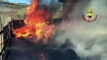 Amato (CZ) - Incendio in un'azienda di pellet (06.01.20)