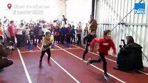 Les_jeunes de la section athlétisme du Stade Montois testent la piste couverte