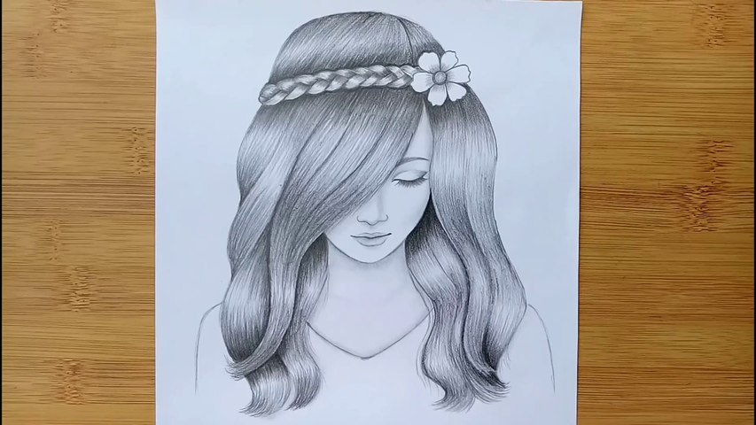 A Girl With Beautiful Hair Pencil Sketch Drawing How To Draw A Girl Video Dailymotion