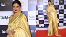 Rekha looks allegiant in golden saree at Chhapaak premiere। FilmiBeat