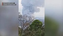 View from Tagaytay, Cavite of ash spewing from Taal Volcano