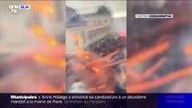 """""""On a dû évacuer l'appartement"""": une étudiante filme le cortège samedi à Lyon quand un projectile explose à sa fenêtre"""