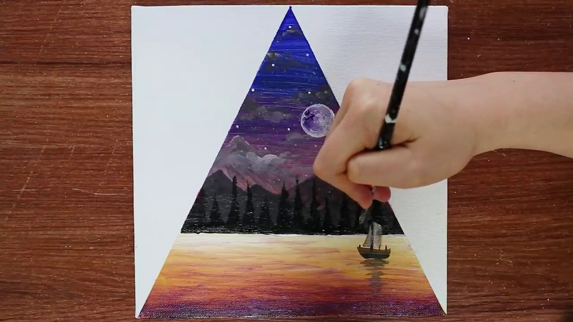 Triangle Landscape Acrylic Painting On Mini Canvas Step By Step 2 Satisfying Demo Video Dailymotion