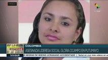 Colombia: asesinan a lideresa social Gloria Ocampo en Putumayo