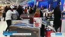 Les forces de police interviennent pour évacuer un supermarché de Montpellier après une erreur d'étiquetage proposant une télé 140 cm de large à 30,99 euros