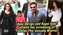 Ajay Devgn and Kajol kids attend the screening of 'Tanhaji The Unsung Warrior'