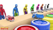 Colors for Children to Learn with Spidermen and Street Vehicles Car Toys -h 3D Kids Learn Colors