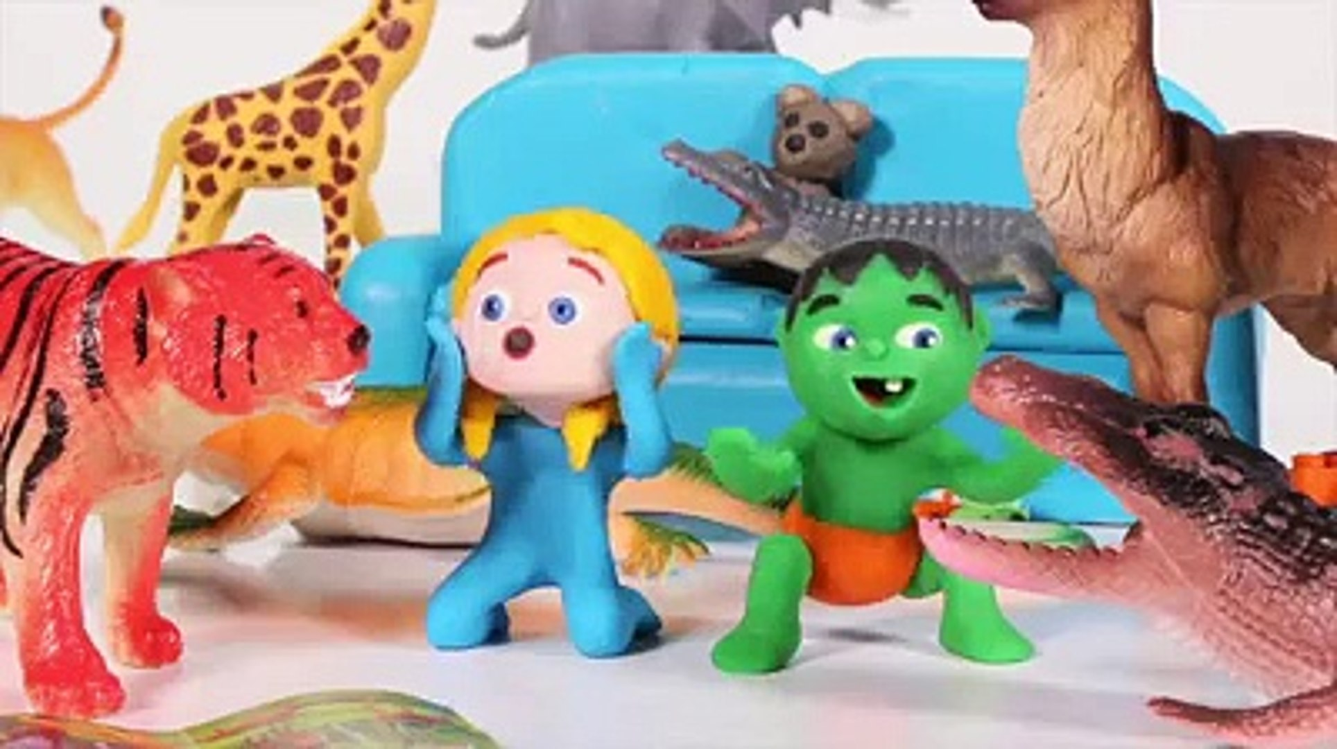 KIDS PLAYING WITH JUNGLE ANIMALS ❤ SUPERHERO PLAY DOH CARTOONS FOR KIDS