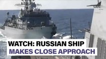 """U.S. destroyer """"aggressively approached"""" by Russian ship 