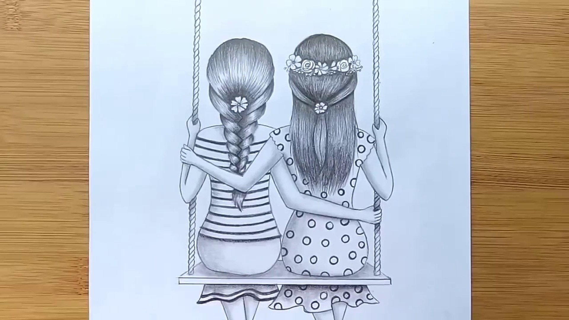 How To Draw Best Friends Sitting Together On A Swing Pencil Sketch Tutorial Video Dailymotion