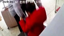Hurried Chinese father accidentally puts his son onto security scanner conveyor belt at train station