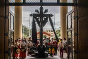Batangueños offer a Subli prayer dance to calm down restive Taal Volcano