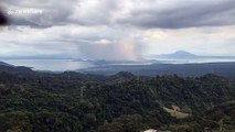 Timelapse clip shows Taal Volcano spewing ash in Philippines