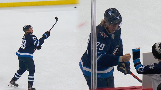 Patrik Laine shows off hands with juggling act, plays Rock, Paper, Scissors with fan