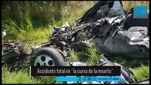 """Impactante choque frontal entre un micro y un auto en la """"curva de la muerte"""""""