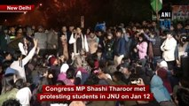 Shashi Tharoor meets protesting students in JNU
