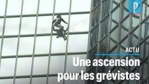 « Spider-Man » grimpe la tour Total contre la réforme des retraites