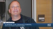 Surprise cop, accused of crashing a funeral, remains on the job