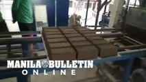 Actual production of cement brick mold from volcanic ashes from Taal