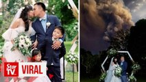 Through good times and bad: Wedding proceeds as Taal volcano spews ash