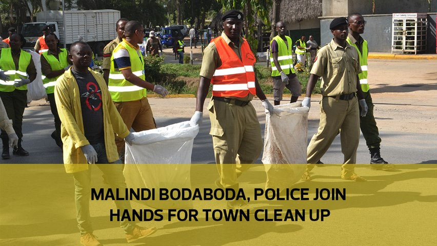 Malindi Bodaboda, police join hands for town clean up