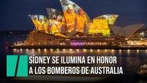 La Ópera de Sídney se ilumina en honor a los bomberos australianos