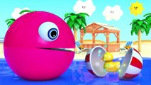 Learn Colors with PACMAN as eat Fish and Soccer Ball on the Sea and slides down a magic slide