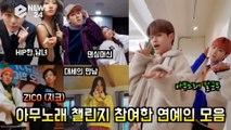 지코(ZICO), 온라인은 '아무노래 챌린지' 열풍 '이효리, 박신혜, 화사, 청하, 장성규, 에이비식스등 연예인 모음'