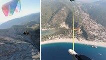 Balanceakt in luftiger Höhe: Slackline zwischen zwei Paraglidern