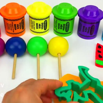 Learn Colors and Numbers with 6 Color Play Doh Lollipops