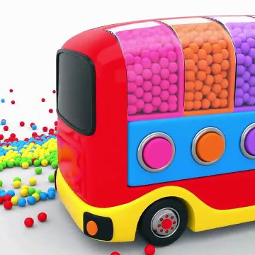 Learn Colors With Little Bus Toy Transporter And Color Balls  Learning Videos