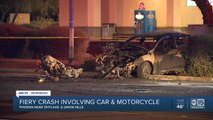 Fiery crash involving car and motorcycle