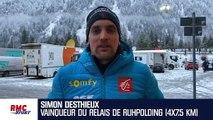 """Biathlon : """"Un message fort avant les Mondiaux"""" espère Desthieux après la victoire des Bleus"""