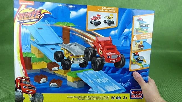 Blaze and the Monster Machines Mega Bloks Toys Jungle Ramps Rush with Stripes, Blaze, Crusher and Zeg-