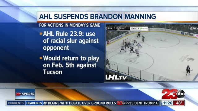 AHL suspends Condors' Brandon Manning for five games