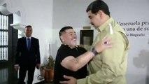 Maradona es recibido por Maduro en visita a Caracas
