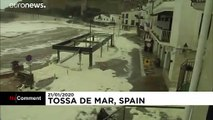 Storm whips up sea foam on Catalan coast
