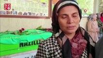 Ateşe verilen evde hayatını kaybeden Gamze'nin annesi cenazede baygınlık geçirdi