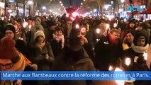 Marche aux flambeaux contre la réforme des retraites à Paris