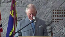 Prince Charles delivers a speech in a Bethlehem church