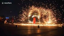 Artists perform dazzling fire dragon dance to welcome the Year of the Rat