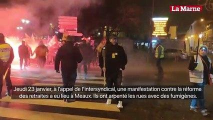 Manifestation intersyndicale contre la réforme des retraites du gouvernement à Meaux.