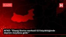"""AFAD: """"Elazığ Sivrice merkezli 6.8 büyüklüğünde deprem meydana geldi."""""""