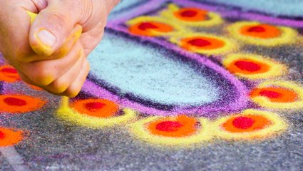 How this artist turned traditional sand painting into street art