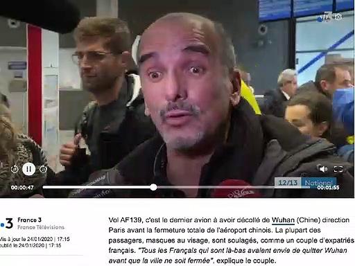 Virus : Dernier vol wuhan Paris. Aucun contrôle, aucune protection.24:01:2020