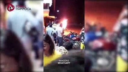 Homem coloca fogo em motocicleta após ser autuado durante blitz em Itapipoca