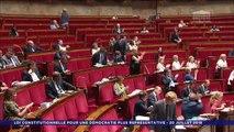 La députée LREM Aurore Bergé lit une fiche que sa voisine venait déjà de lire