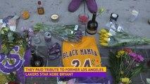 Fans pay tribute to Kobe Bryant outside Staples Center