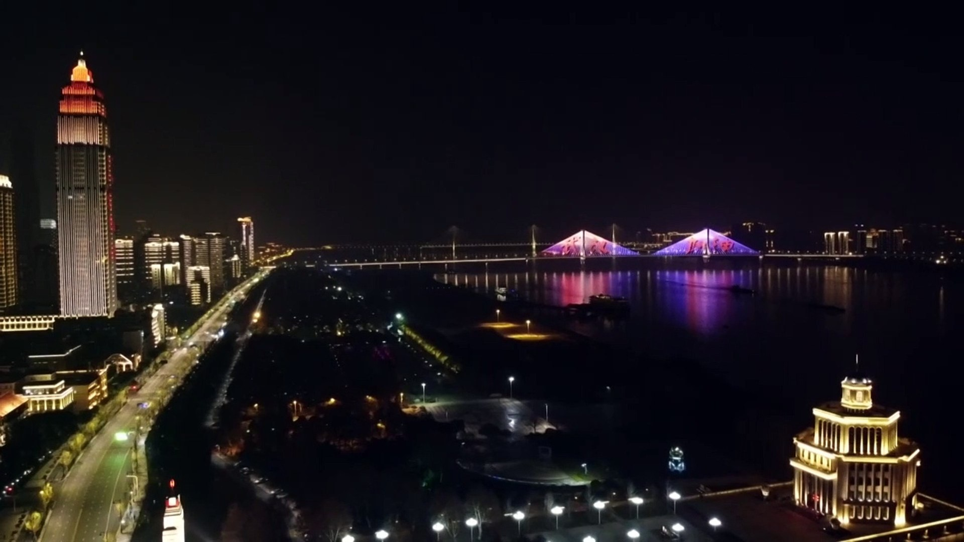 China virus: a light show in Wuhan